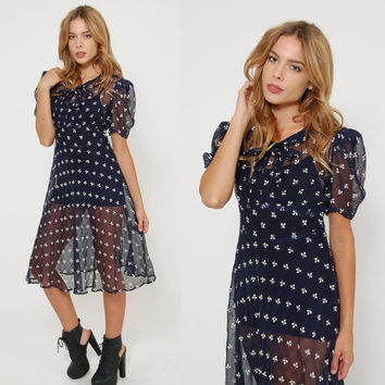 Vintage 30s 40s Navy Blue SHEER Dress HAND PAINTED Floral Dress Pin Up Girl Dress Sailor Dress