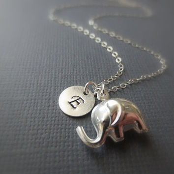 Personalized Initial Elephant Necklace in STERLING SILVER CHAIN--Monogram Necklace-Hand Stamped Necklace-Perfect Gift-Birthday Present