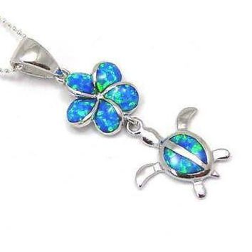 INLAY OPAL HAWAIIAN PLUMERIA DANGLE HONU TURTLE PENDANT STERLING SILVER 925