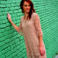 KLD Sigature Tan Crochet Lined Dress