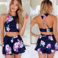 Stylish Lady Sexy Women's Floral Printed Pants Set Casual Halter Off-shoulder Backless Crop Tops and Shorts D_L (Size: L, Color: Blue) = 5658680321