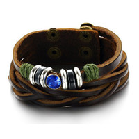 Crystal Drill Genuine Cow Leather Bracelet