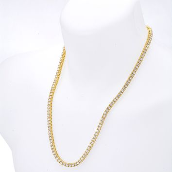 """Jewelry Kay style Men's Fashion Bling CZ Iced Out 4 mm Round Stone 24"""" Tennis Chain Necklace"""
