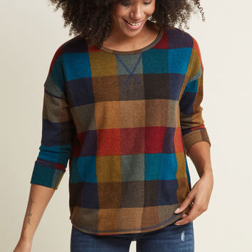 Afternoon Espresso Knit Top in Warm Plaid