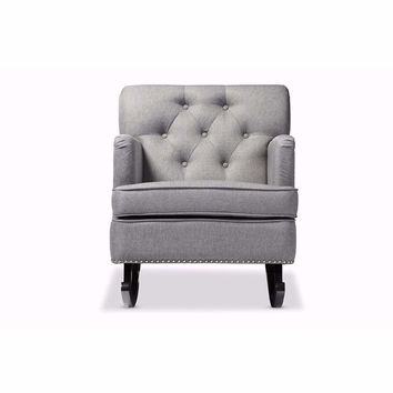 Bethany Modern and Grey Fabric Upholstered Button-tufted Rocking Chair By Baxton Studio