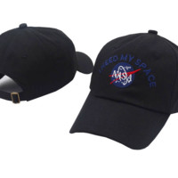 Black NASA I Need My Space Embroidered Cotton Baseball Sports Cap Hat