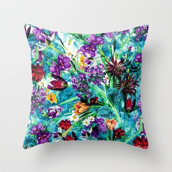 Floral Jungle Throw Pillow by RIZA PEKER