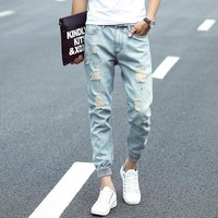Men's Fashion Hip Hop Light Blue Jeans Men Retro Vintage Washed Ripped Ankle Length Jeans With hole Joggers Denim Pants For Men