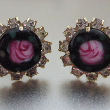 Pink Rose & Black Enamel Earrings, Hand Painted Roses, Rhinestone Screw-Back Earrings, 1950s, Romantic, Wedding, Bridesmaid