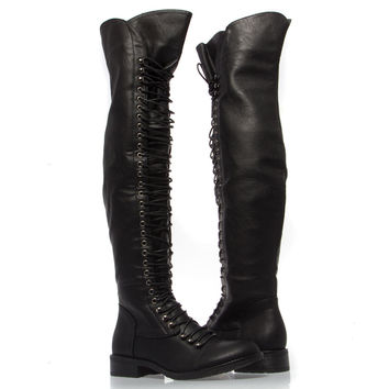 New Black Lace Up Over Knee Thigh High from v_luxury on eBay