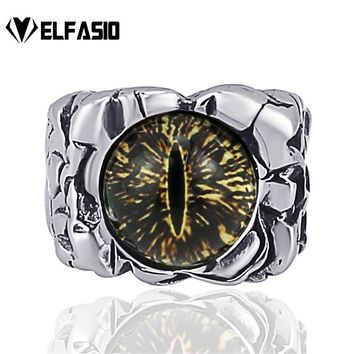 Men's Boy's The devil's eye Retro Stainless Steel Biker Ring Jewelry Halloween Party Props Size 8-13
