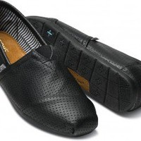 Black Perforated Leather Men's Classics | TOMS.com