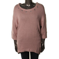 Elementz Womens Plus Maxis & Beyond Knit 3/4 Sleeves Pullover Sweater
