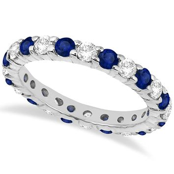 Eternity Diamond and Blue Sapphire Ring Band 14k White Gold (2.35ct)