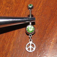 Green Belly Ring with Sterling Silver Peace Sign Dangle