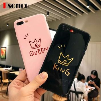 King & Queen Crown Soft Case For iPhone 7 8 X 6 6 s 7 Plus Cases Lover Silicone Rubber Phone Case For iPhone X 6 6s 8 Plus Case