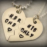 Her One His Only Necklaces  Couples Jewelry  by TwentySix7Handmade
