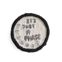 MOON PHASE PATCH - Hand Embroidered Patches, Iron on Patch, Crystal Patch, Boho Chic, Magic, Wiccan, Cross Stitch, Gifts For Teens, Gypsy