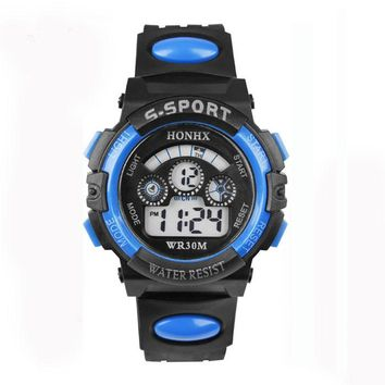 Waterproof Children Boy Digital LED Quartz Alarm Date Sports Wrist Watch