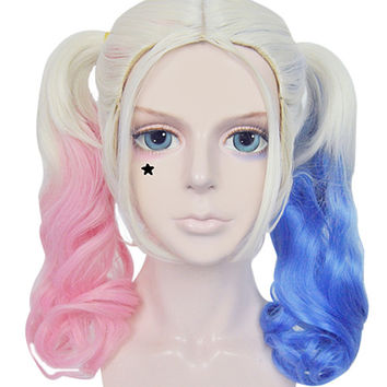Batman Comics Movie Suicide Squad Harley Quinn Cosplay Blonde Wig Hair Curly Gradient Wigs Heat Resistant For Halloween Alternative Measures