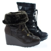 Crepe07 By Bamboo, Women's Military Lace Up Faux Fur Lining Winter Snow Boots, Wedge Lug Sole