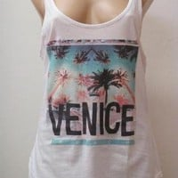 White Sleeveless Tank with Venice Graphic Print Front