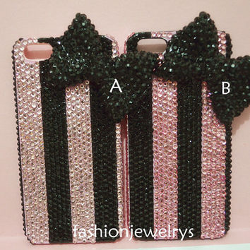 pink bow iphone 5 case, bow iphone 4 case, crystal iphone 4s case, unique iphone case, iphone case rhinestone iphone 4, hard back coer
