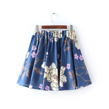 Linen Floral Print Elastic Waist Pleated Skater Mini Skirt
