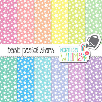 Pastel Star Digital Paper – pastel scrapbook paper with a star pattern in pink, peach, yellow, mint, blue, & purple - commercial use