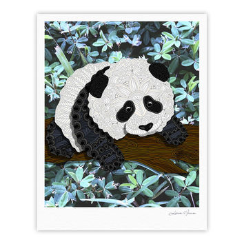 "Art Love Passion ""Panda"" Black White Fine Art Gallery Print"