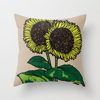 sunflowers Throw Pillow by Mad Dope | Society6