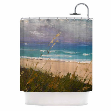 "Carol Schiff ""Florida Beach Scene"" Coastal Blue Shower Curtain"