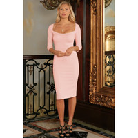 Pink Blush Stretchy Sleeved Bodycon Summer Cocktail Midi Dress - Women