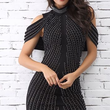 Dancing on Air Black Beaded Draped Sleeve Mock Neck Bodycon Mini Dress