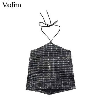 Vadim women sexy sequined halter crop tops shiny short camis shirts sleeveless backless tank top chic casual blusas mujer WT508