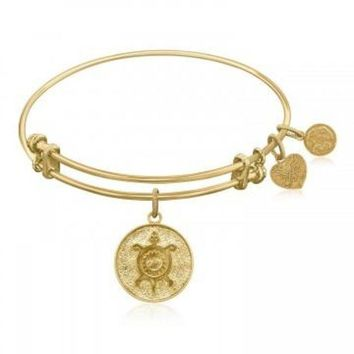 ac NOVQ2A Expandable Bangle in Yellow Tone Brass with Chinese Longevity Symbol