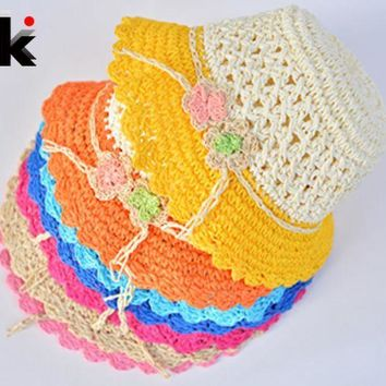 PEAP78W Fashion children hats for girls Beach Hat Flower Cap Kids Straw hat Childrens Summer Sun Hand-woven caps 7 colors free shipping