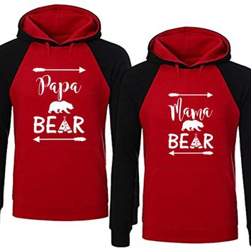 Bear Family Hoodie for Mama Bear & PAPA Bear Pullover Sweater-RED Black-Price for 1