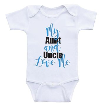 "Aunt Uncle Baby Onesuits ""My Aunt and Uncle Love Me"" Unisex Newborn Baby Clothes"