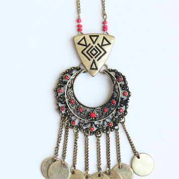 Cleo Fringe Necklace - Red