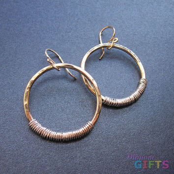 """Hammered heavy gauge circles wrappedwith opposite color wire, 1-1/2"""" Earring Gold Or Silver"""