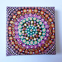 Colorful Dot Mandala Painting, Spiritual Ethnic Painting, Yoga Art Wall decor, Meditation Art Original Acrylic painting, Mini Canvas Art