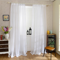 Yarn curtain Solid White Window tulle Translucidus Curtains Modern Window treatments Decorative Voile curtain Single panel