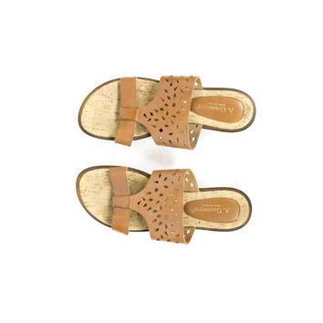 9.5 | leather + cork sandals / made in italy / slip on / womens size 9.5
