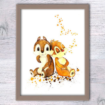 Chip and Dale watercolor poster Disney art print Disney illustration Disney decor Kids room wall art Nursery decor Rescue Rangers art V286