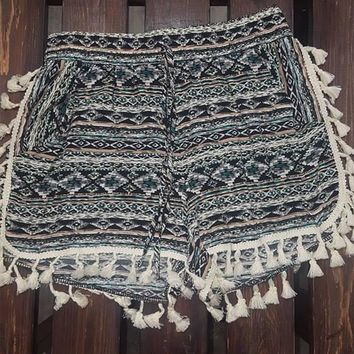 Aztec Shorts with Ivory Tassel Lace Trim
