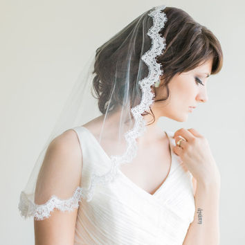 Silk Mantilla Veil with French Alencon Lace, Elbow Length, Shoulder Length, Silk Veil, Bridal Veil-  Monique MADE TO ORDER- Style 9013