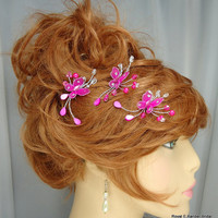 Magenta Hot Pink Butterfly Bridal Hair Pin Trio Set of 3 Wedding Hair Accessories