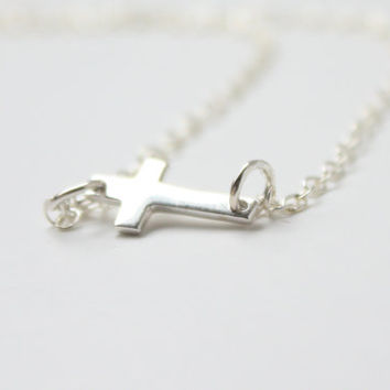 Sterling silver sideway cross necklace - small sideway cross dainty minimal necklace