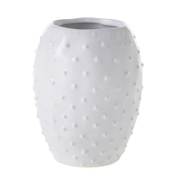 "White Ceramic Prickly Cactus Vase - 5"" Tall x 3.75"" Wide"